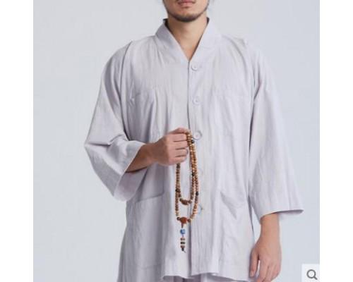 慈缘佛教禅修僧服短褂套装 原创夏款七分袖短衫