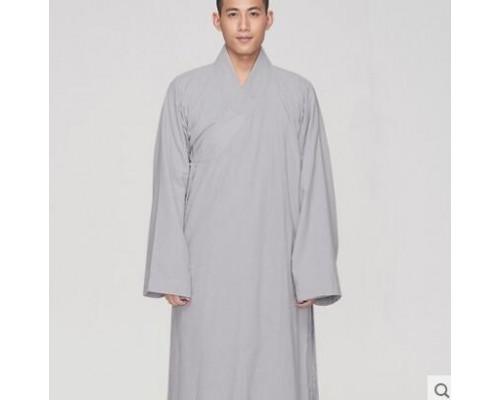 慈缘佛教用品禅修斜襟大褂 浅灰色僧服长衫