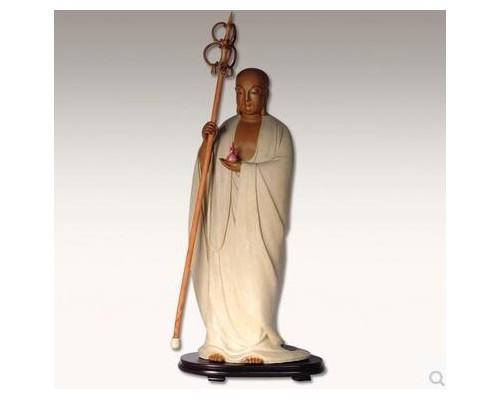 站立地藏王菩萨(工匠师陈沛津)面相庄严手工雕刻单品神像