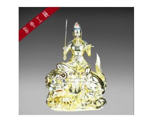 彩云工艺品文殊菩萨华严三圣佛像 贴金上色彩绘佛像