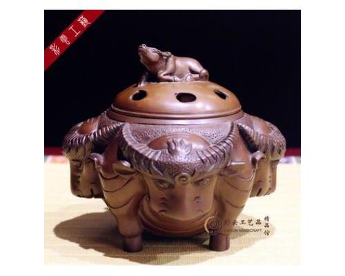 梵慧轩牛转乾坤紫铜香炉摆件 熏香炉