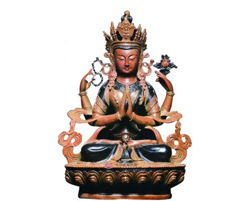 江西渡四臂观音铜像佛像佛堂摆件佛像工艺品