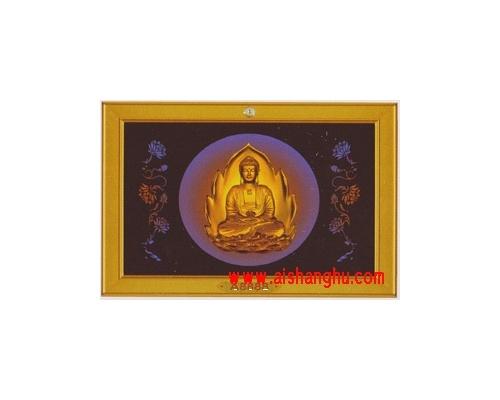 UV立体浮雕彩印面板-金色佛祖骨灰陈列架单穴面板