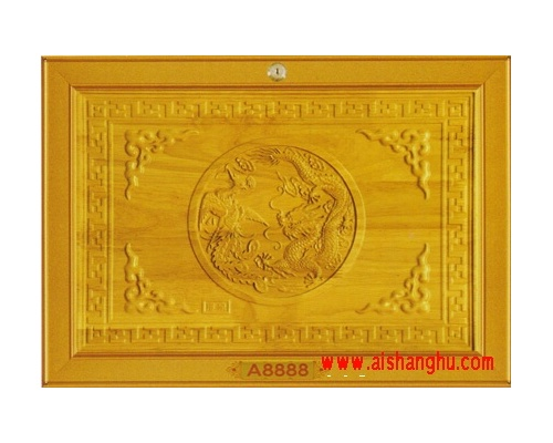 名贵实木精雕面板-木雕龙凤骨灰柜单穴面板