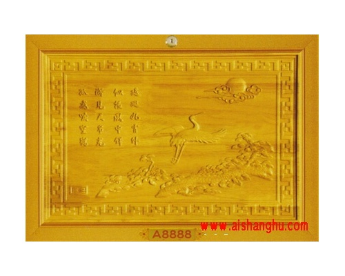 名贵实木精雕面板-木雕仙鹤骨灰盒寄存架单穴面板