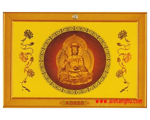 镶贴佛像花饰面板-地藏王菩萨福寿柜单穴面板
