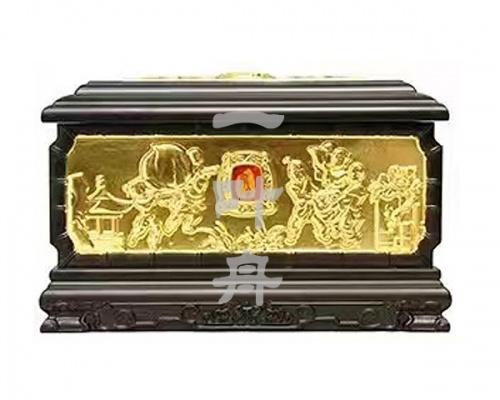 黑檀木半包金,百子殿骨灰盒福寿盒一叶舟