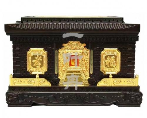 黑檀木半包金,蓬莱仙居福寿盒一叶舟