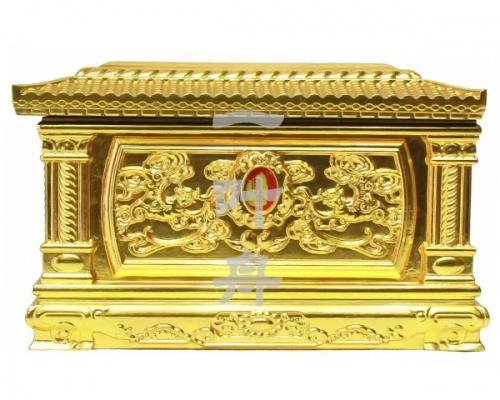 黑檀木半包金,仙鹤园寿盒一叶舟