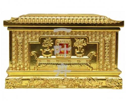 黑檀木半包金,御园堂骨灰盒一叶舟