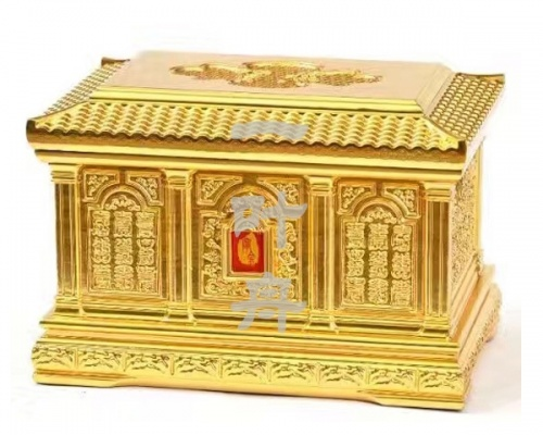 黑檀木全包金,金长城骨灰盒寿盒一叶舟