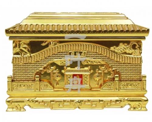 黑檀木全包金,荣华宝贵骨灰盒寿盒一叶舟