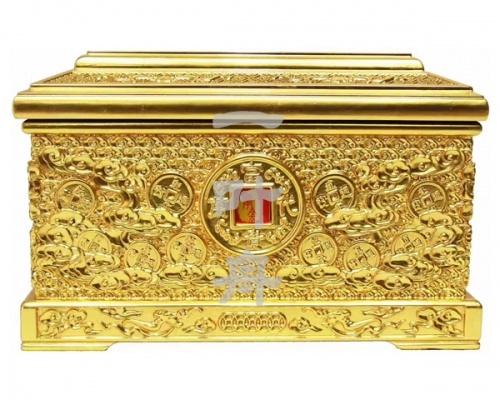 黑檀木全包金,盛世通宝骨灰盒寿盒一叶舟