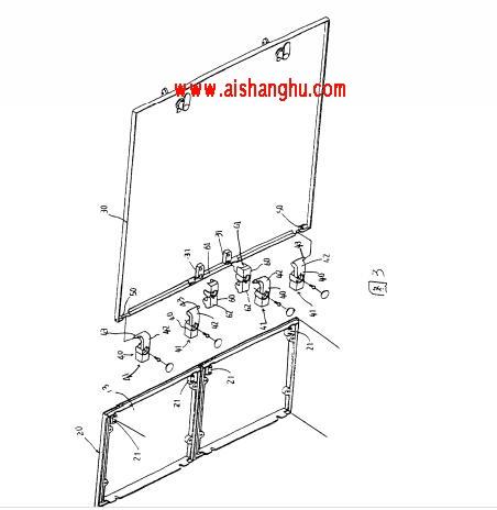 图3是本实用新型一种用于置放骨灰盒的组合柜的改良结构中的柜门和柜体的局部结构示意图。