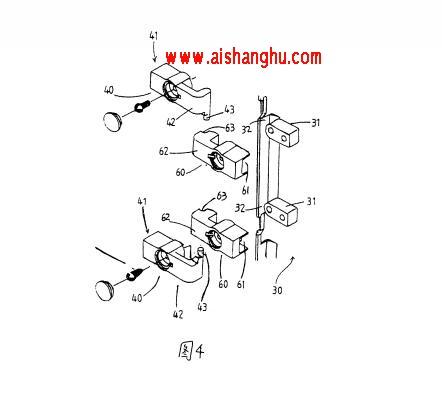 图4是本实用新型一种用于置放骨灰盒的组合柜的改良结构中的铰链的结构示意图。