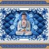 寺院单穴骨灰盒柜面板青花瓷平面设计效果图江西仙廷