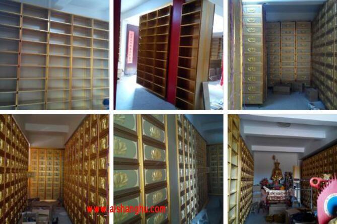 寺庙佛教骨灰盒存放架安装流程实体超清照片厦门汇纳