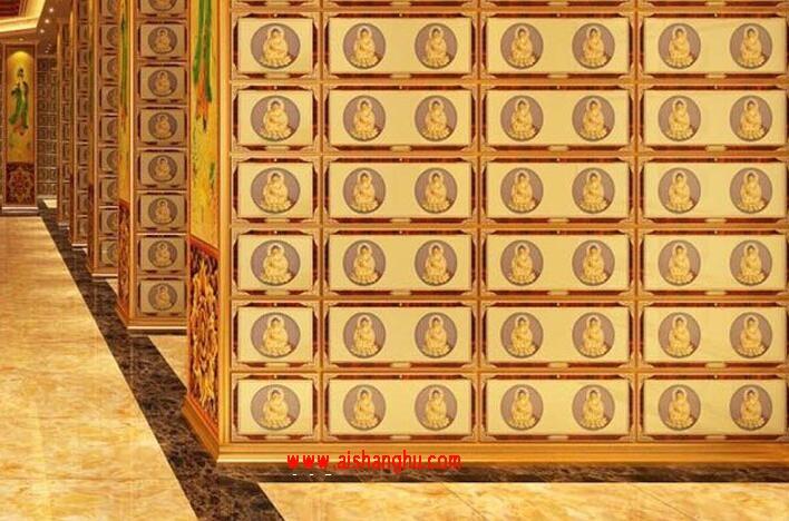 寺庙骨灰盒存放架佛堂装修设计效果图东莞乐克
