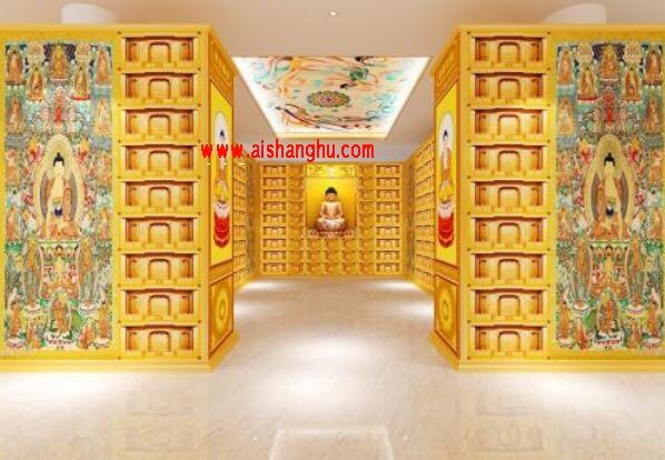 寺庙佛教佛堂骨灰盒存放架现场照片图江西天晟