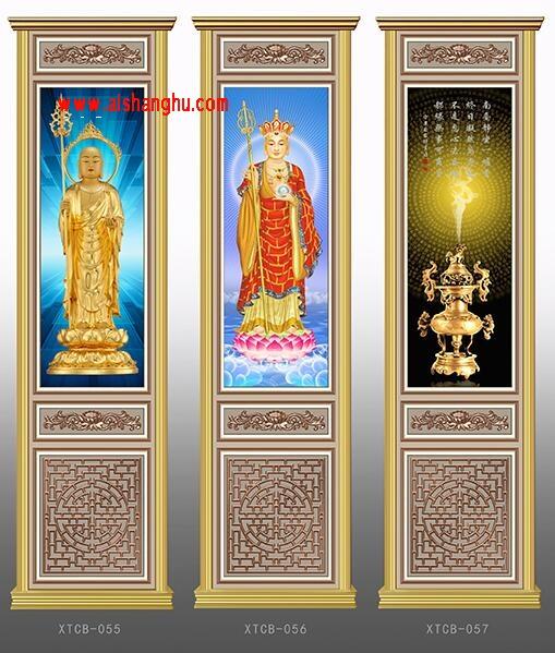 佛堂寺院骨灰盒存放架侧面板设计样式图XTCB-055-057系列